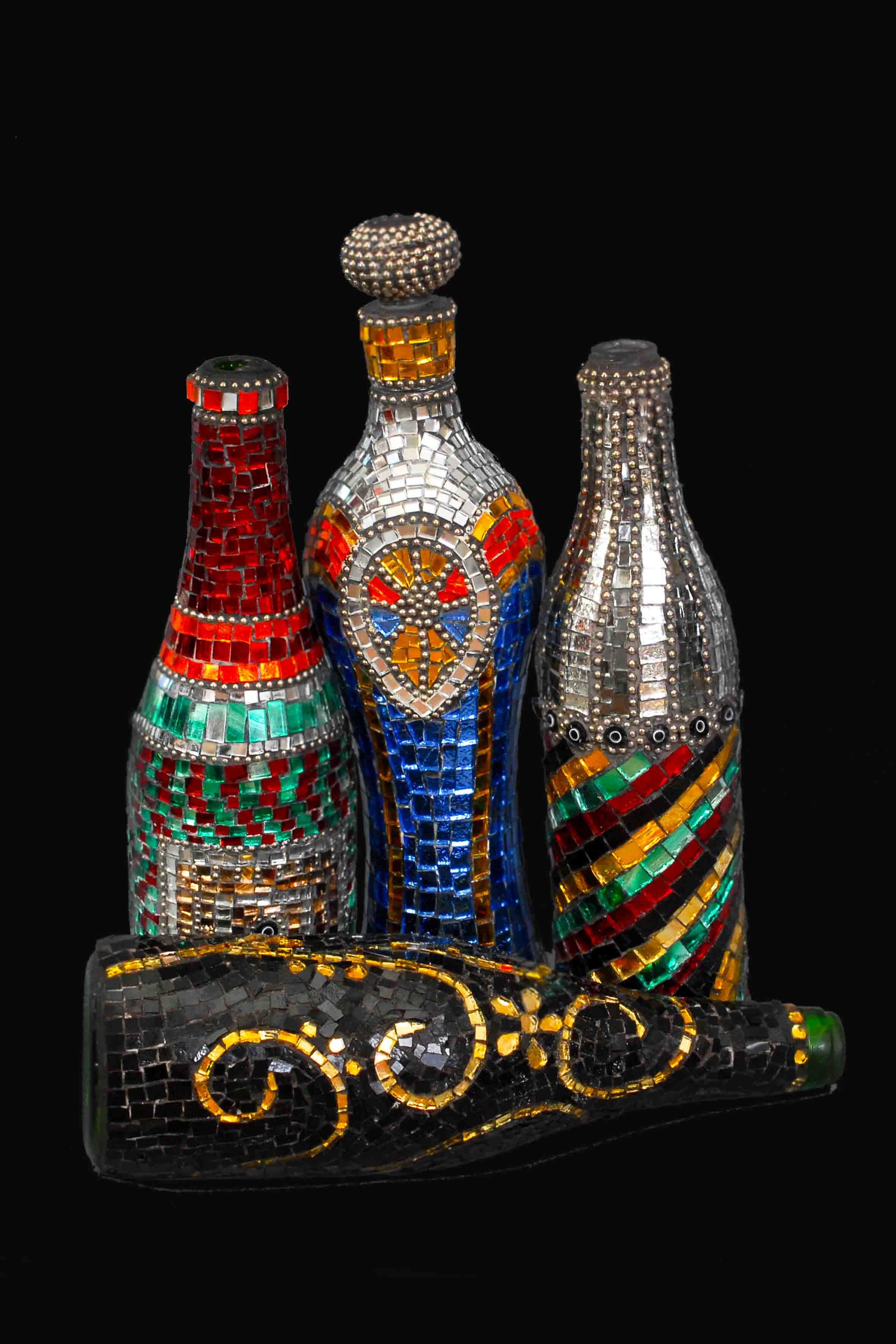 Mosaic bottle hand made materials high quality art glass for Bottle painting materials