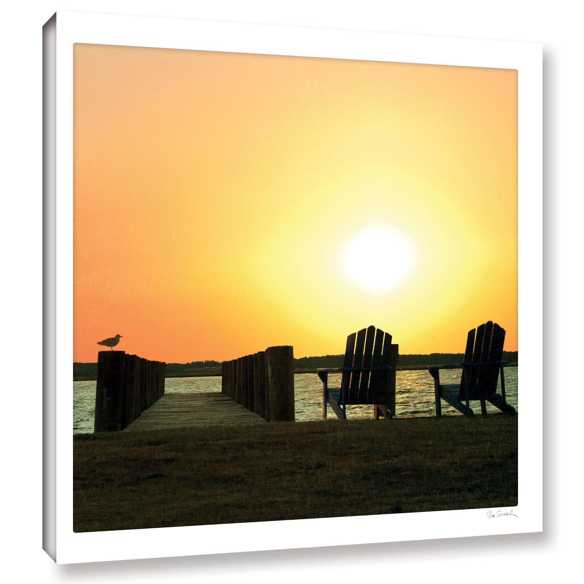 Sue schlabach pier sunset photographic print on wrapped canvas