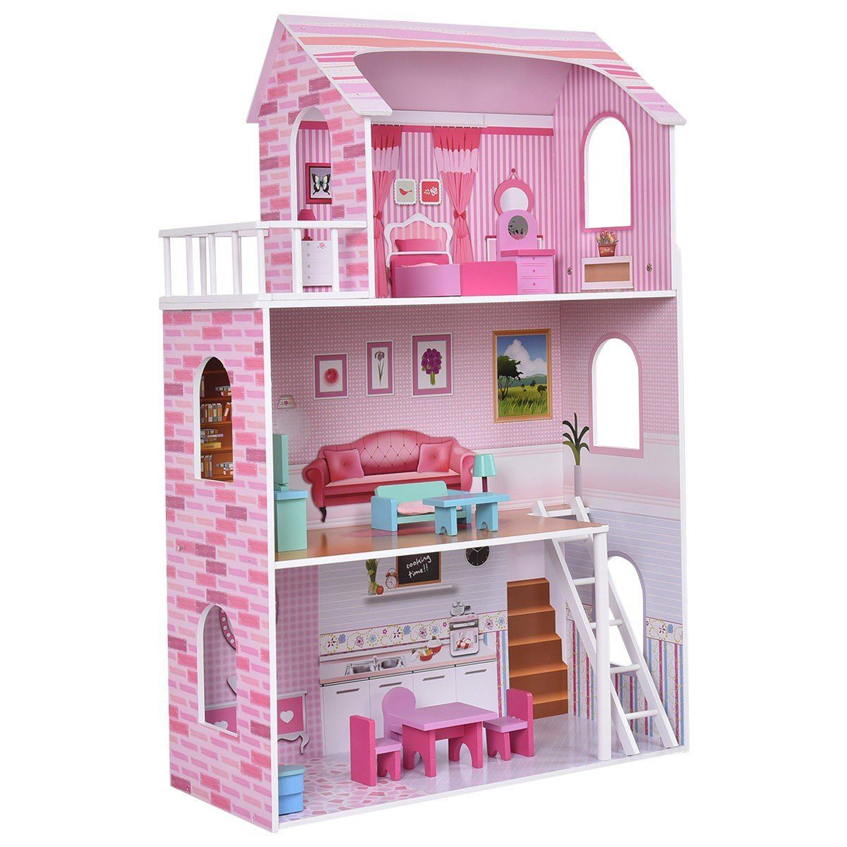 Kids Wood Doll Cottage House Playset W