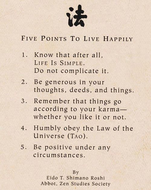 5 Points To Live Happily