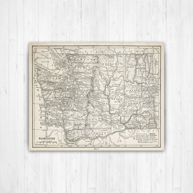 Map Of Washington Washington State Map Washington Canvas