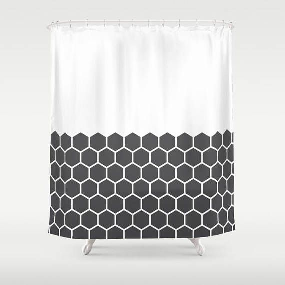 36 Colours Hexagon Honeycomb Half Pattern Shower Curtain