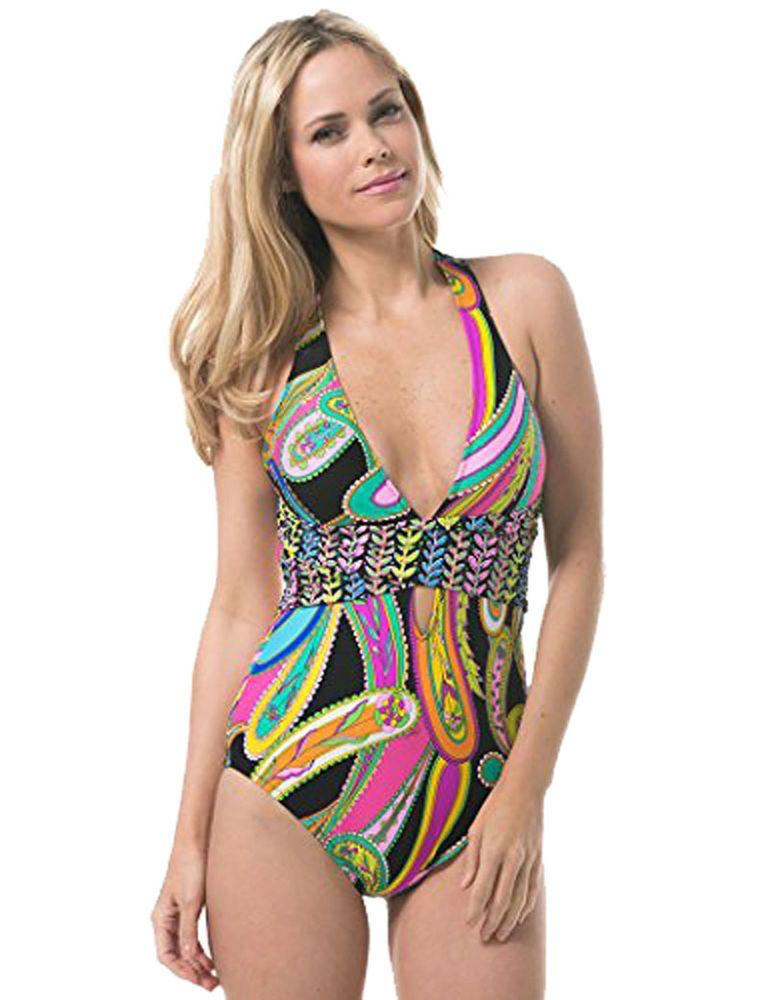 f60273f0403 NWT Trina Turk Women's Garden Paisley One Piece X-Back Tank Swimsuit Size 8…