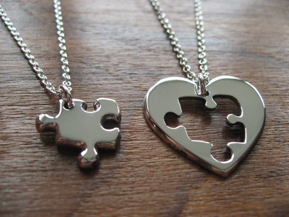 eaa6752639e0f Best Friend Puzzle and Heart Necklace Pendants by GorjessJewellery ...