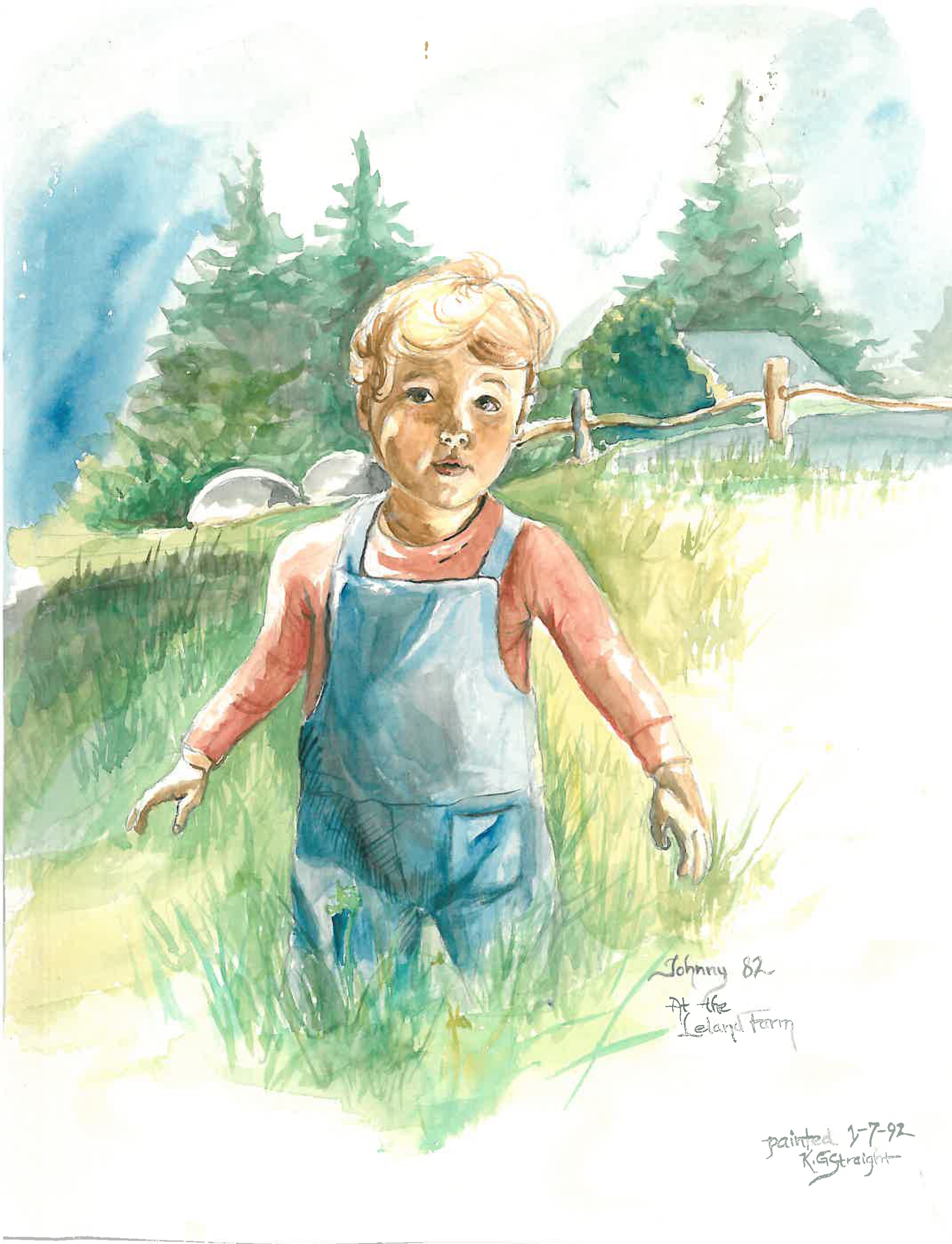 Watercolor of my oldest when he was 2...in the background is the millstone at the family farm.