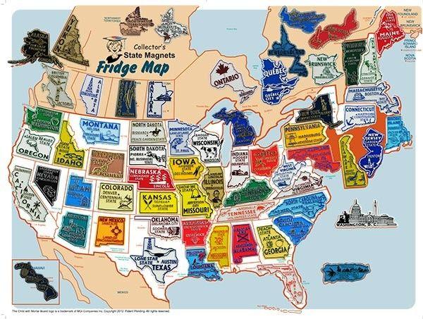 USA/Canada Magnet Set with FREE USA Fridge Map | USA/Canada ...