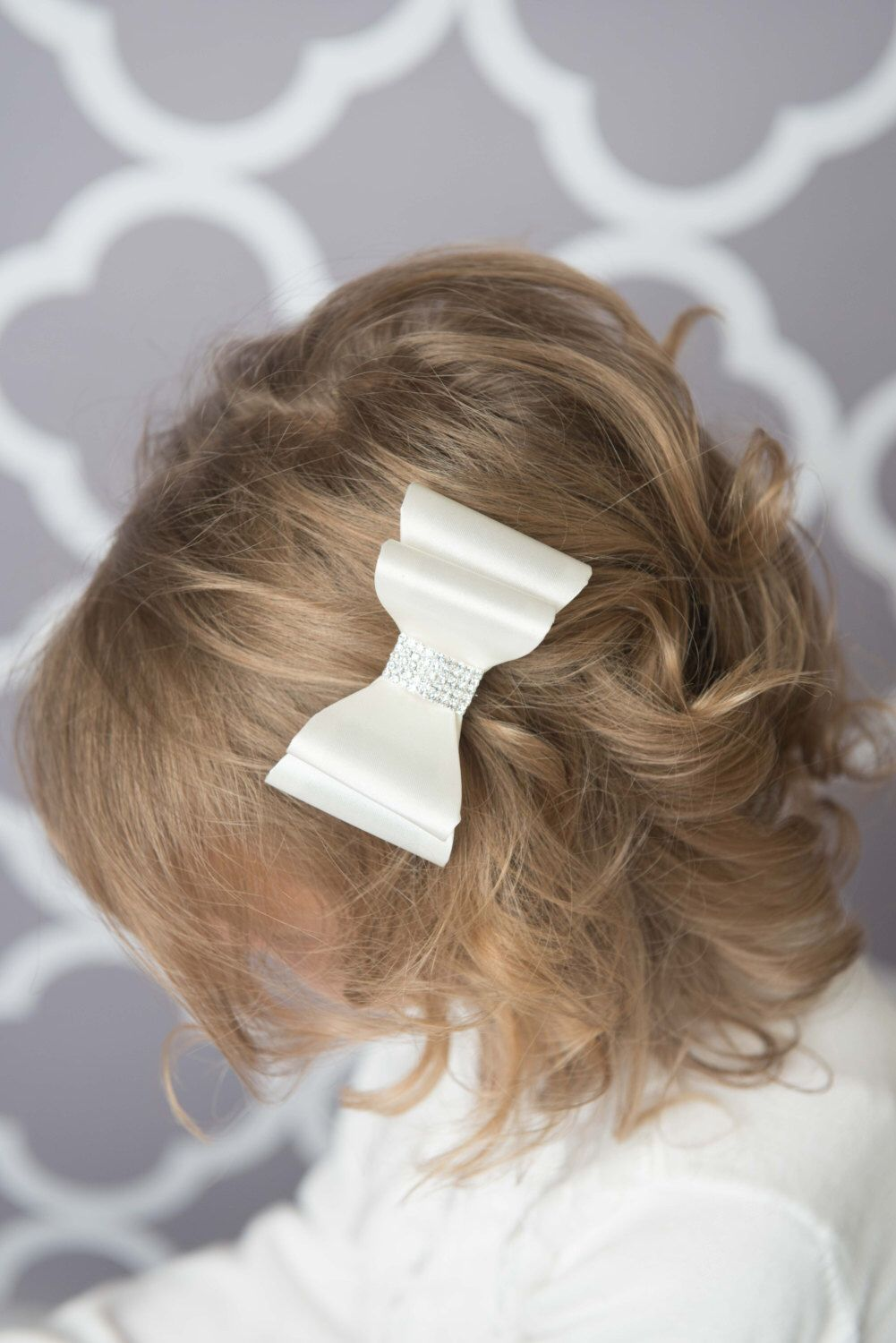 ivory hair bow, ivory satin hair bow, girl hair accessories, baby