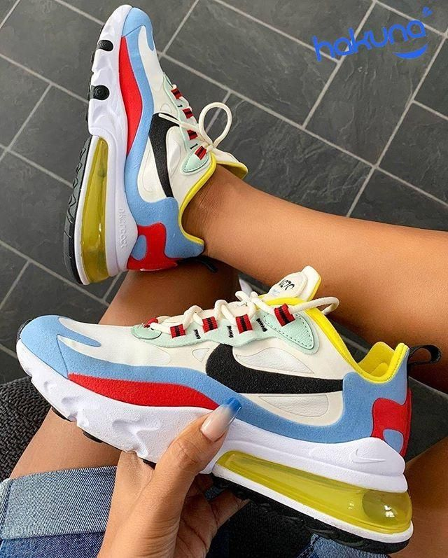Nike Red White And Blue Air Max 270 React Sneakers in 2020 ...