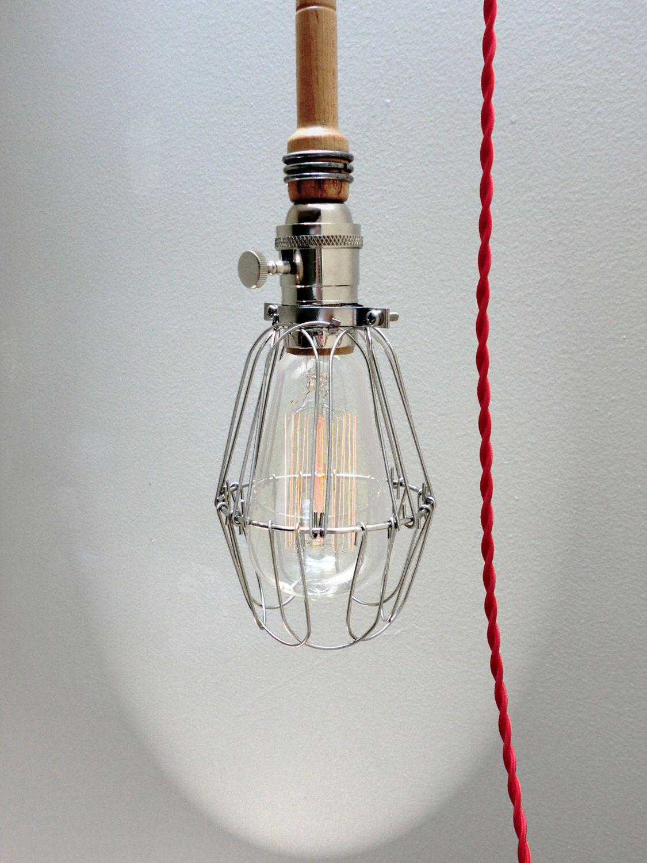 industrial light wood cage light edison bulb pendant