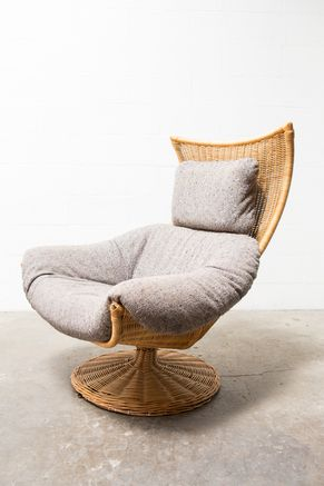 Delicieux GERARD VAN DEN BERG CLOTH AND RATTAN LOUNGE CHAIR FOR MONTIS