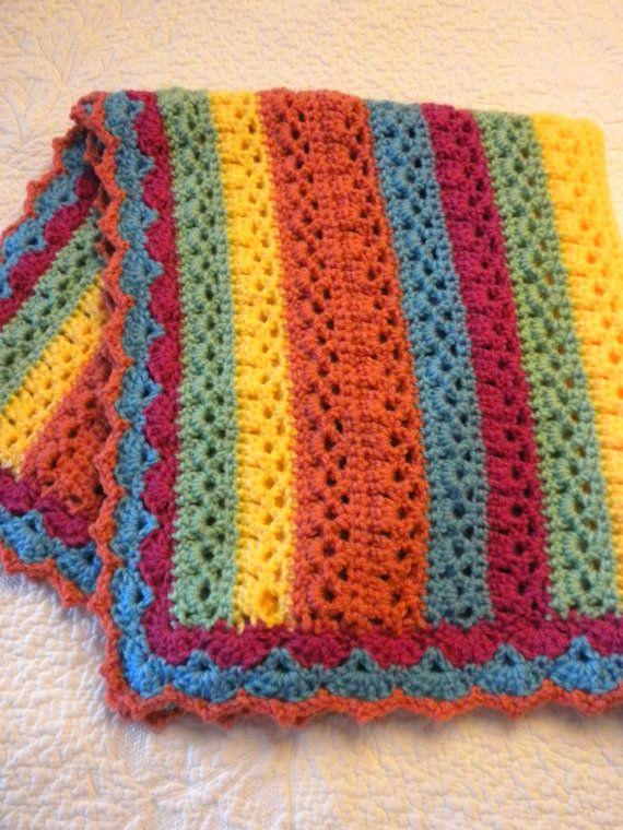 Rainbow Stripes Baby Blanket | Pinterest | Häkeln