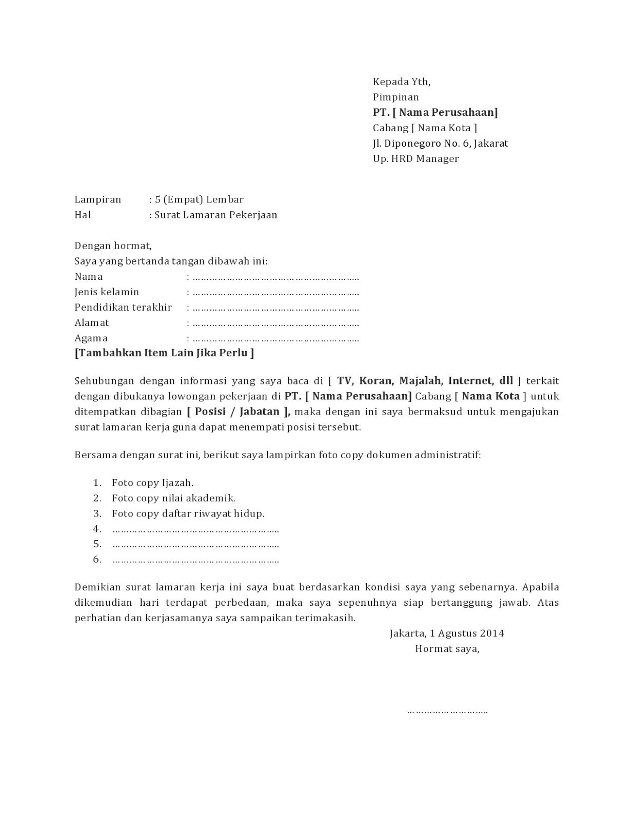 Contoh Surat Lamaran Kerja Di Cafe Surat Pendidikan Bahasa