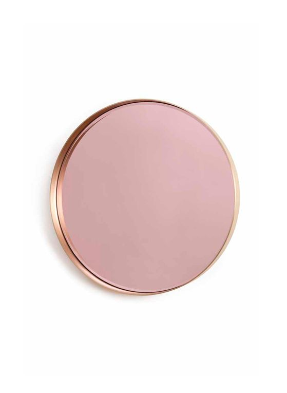 Miroir la vie en rose design herv langlais 2013 laiton bross et miroir teint ext 80 cm for Miroir teinte design