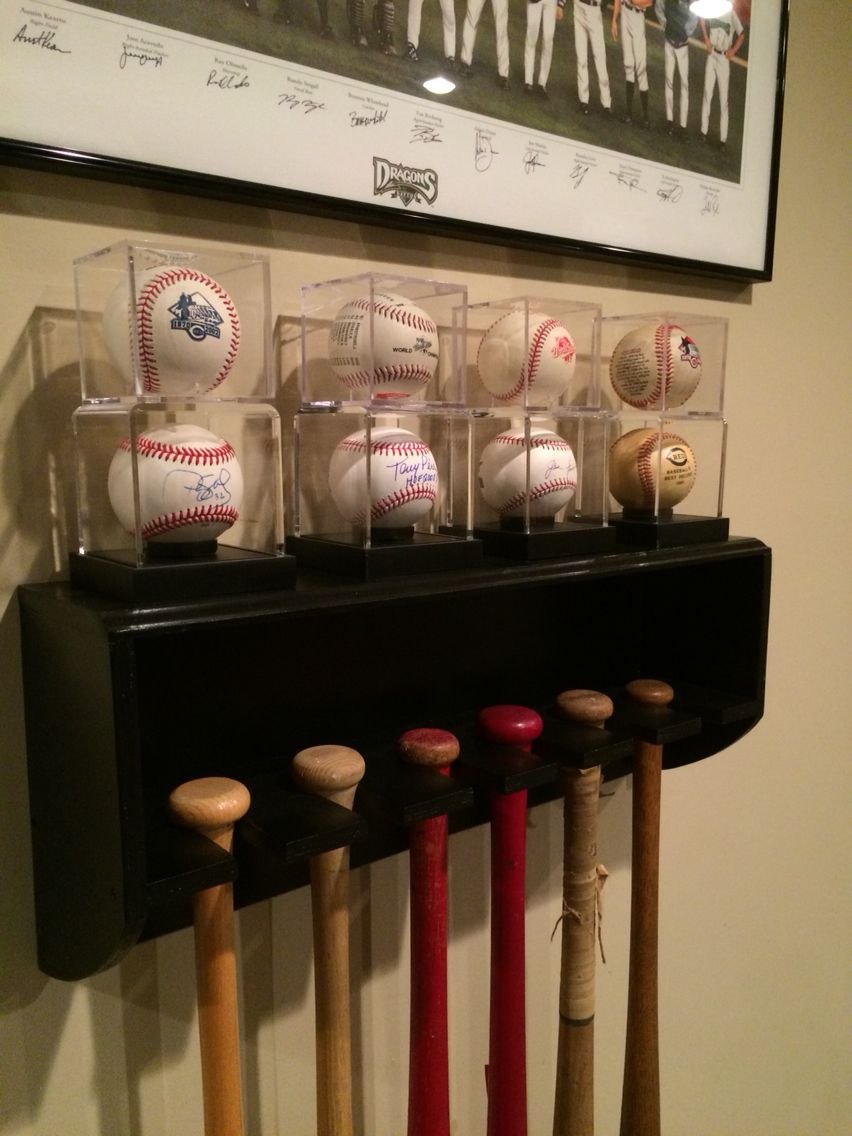 Homemade Bat Rack With Baseball Display Shelf