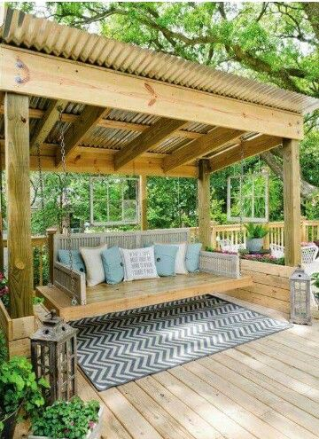 I Want This For My House! Love The Tin Roof Over The Swing, Iu0027d Sit Out  There When It Rains And Just Listen