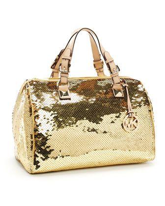 7b07fe98d7f9d5 MICHAEL Michael Kors Large Grayson Sequin Satchel, Gold | Bag ...