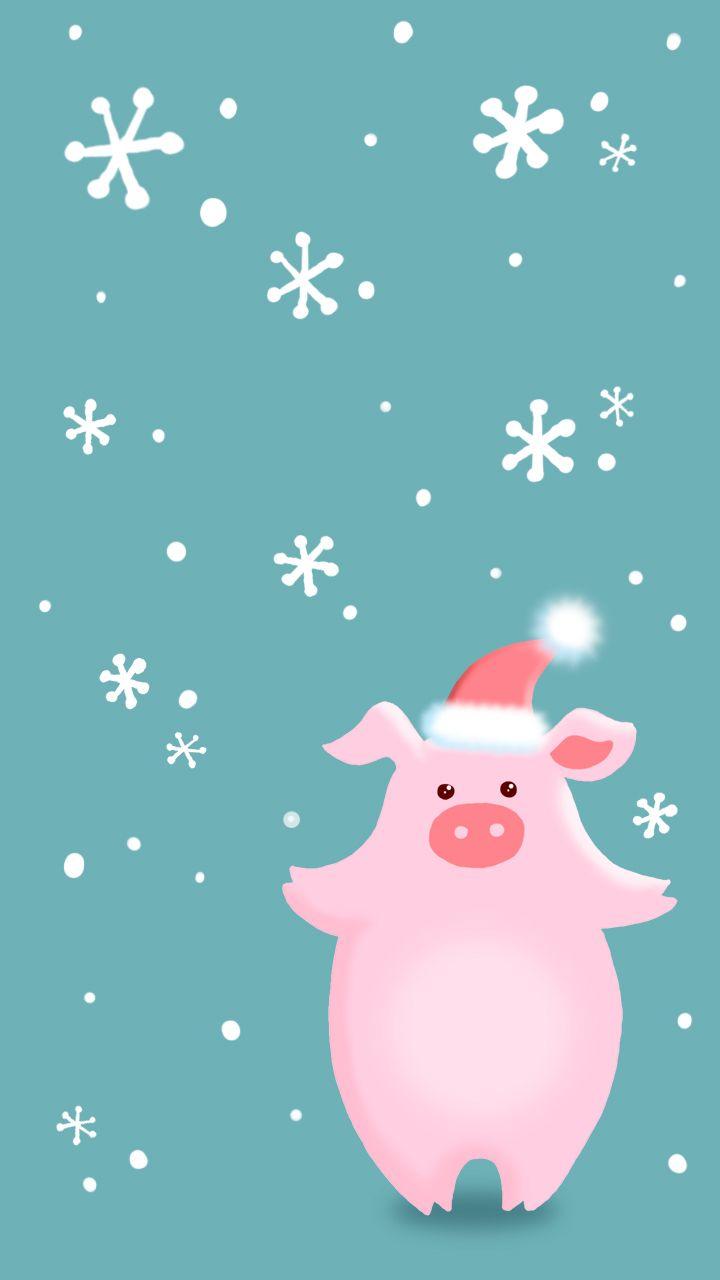 Свинка новогодняя, заставка на телефон, картинка для ...