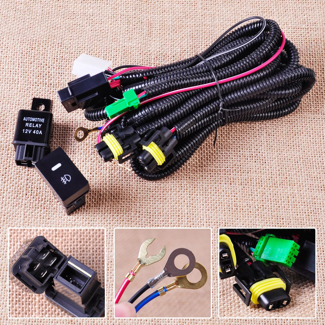 H11 Fog Light Lamp Wiring Harness Sockets Wire + Switch with ... H Wire Harness on