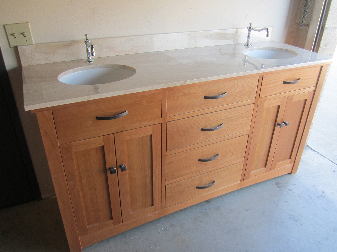 Usa Made Brogan 60 Inch Customizable Solid Cherry Wood Bath Vanity