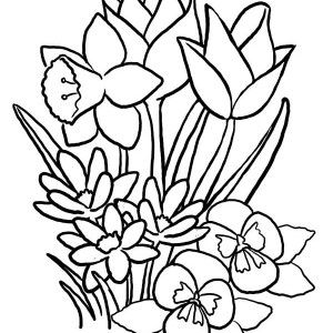 Spring Flower Bouquet Coloring Page 300x300