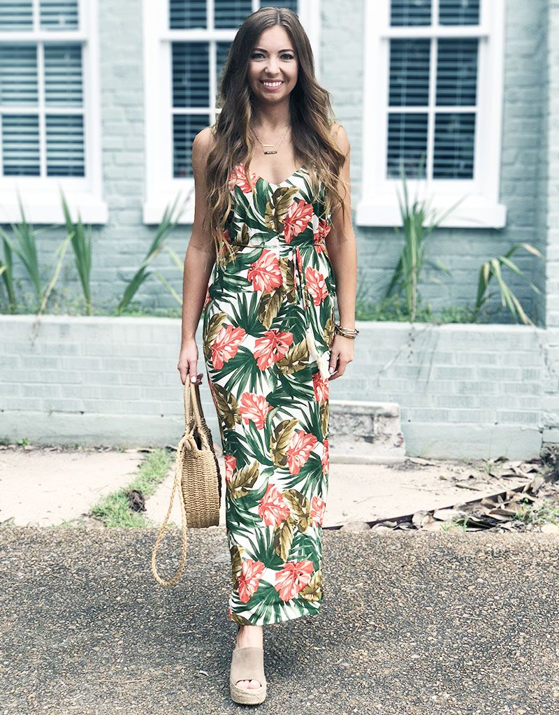 3e6ffd842d31 tropical floral maxi dress - round straw bag - sam edelman espadrille  wedges - beach vacation outfit - comfy summer dresses