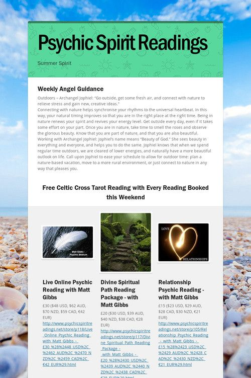 Psychic Spirit Readings Weekly Guidance & Free Celtic Cross Tarot
