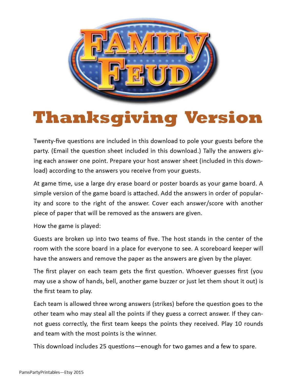 Thanksgiving Family Feud Printable Game Thanksgiving