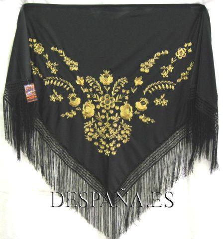 Mantón bordado 122. Negro/oro.