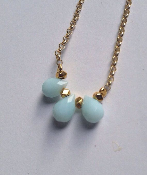 Delicate Dyed Jade Teardrop Necklace - Robins Egg Blue  Sally and Bea
