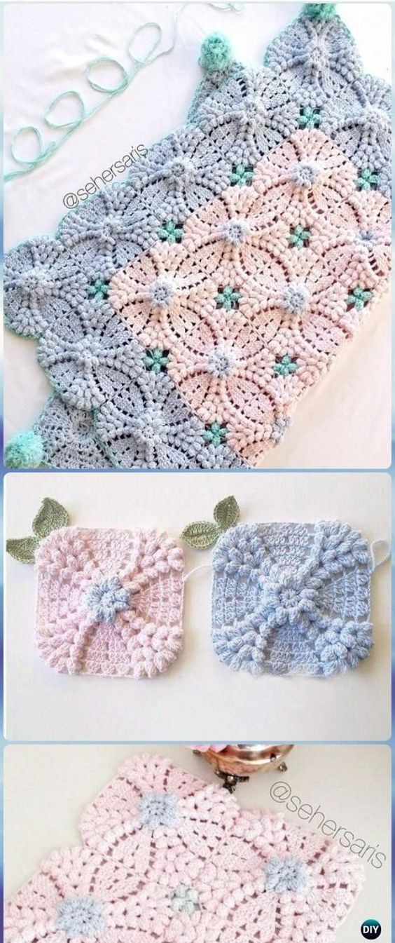 Crochet Pearl Flower Popcorn Square Motif Free Patterns [Video] | So ...