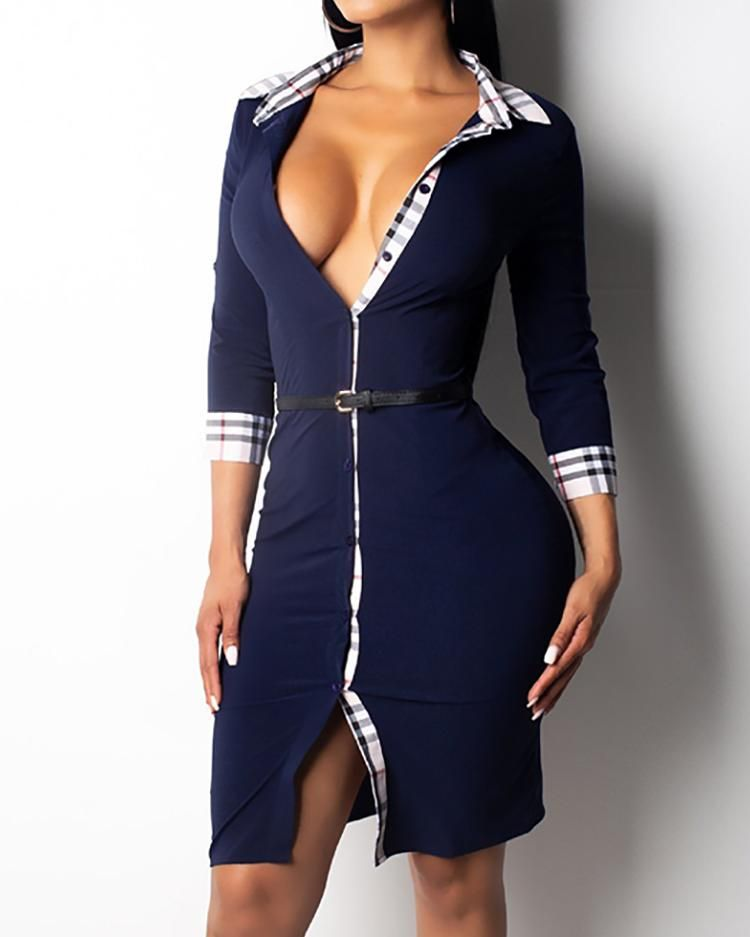 Plaid Binding Button Through Bodycon Dress