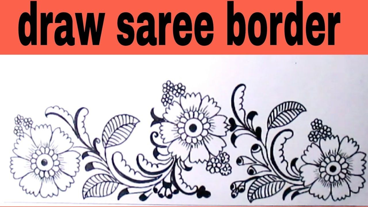 Draw saree border for embroidery designs pencil sketch designs for hand