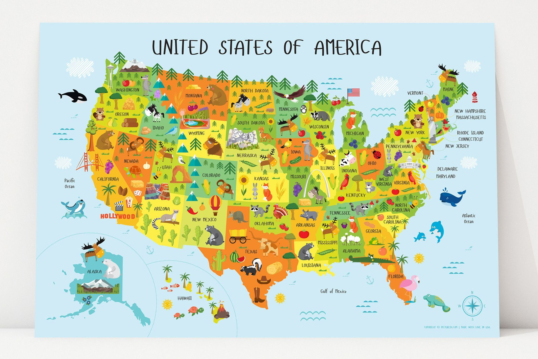 Laminated Available USA United States Large Map Wall Chart Poster New