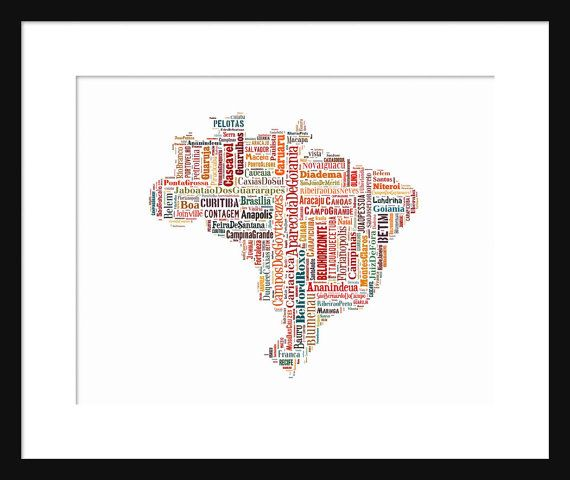 Brazil South America Map Color Typography Print Text This Captures The Many Cities That Make Up Names Of