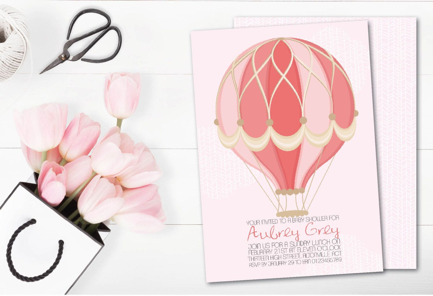 Hot Air Balloon Invitations Balloon Baby Shower Baby Shower