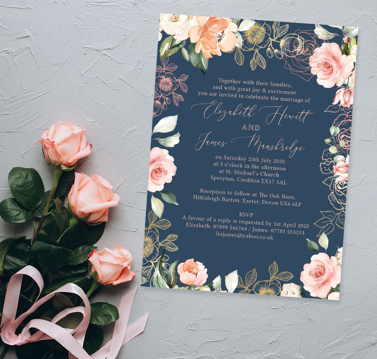 Navy blush rose gold floral wedding invitation floral