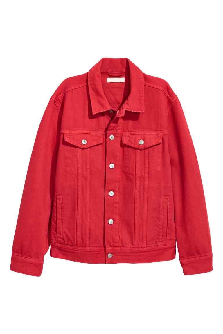 veste en jean rouge femme h m fr tenues en 2019. Black Bedroom Furniture Sets. Home Design Ideas