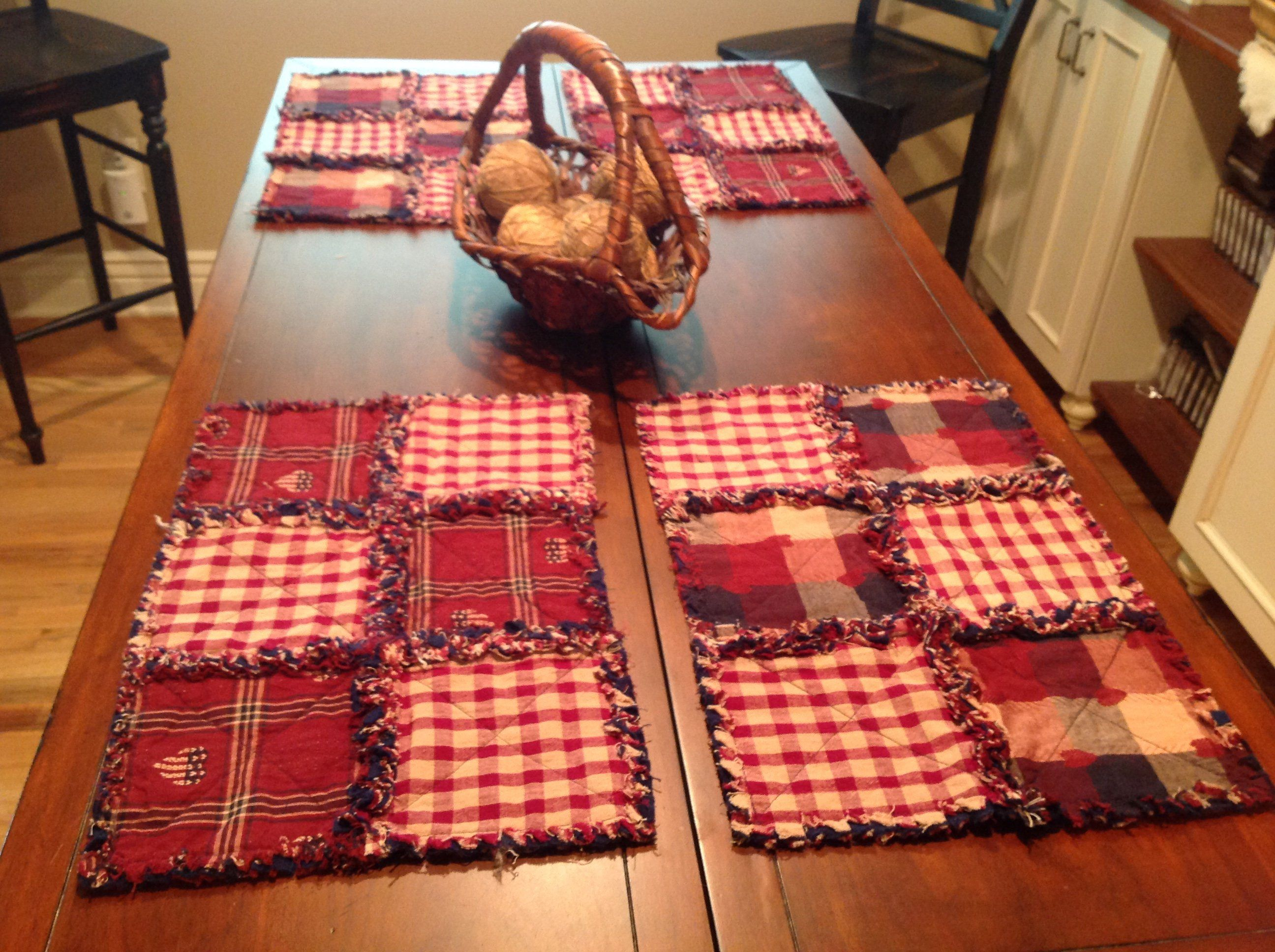 Four Rag Placemats Americana Placemat Burgundy Navy And