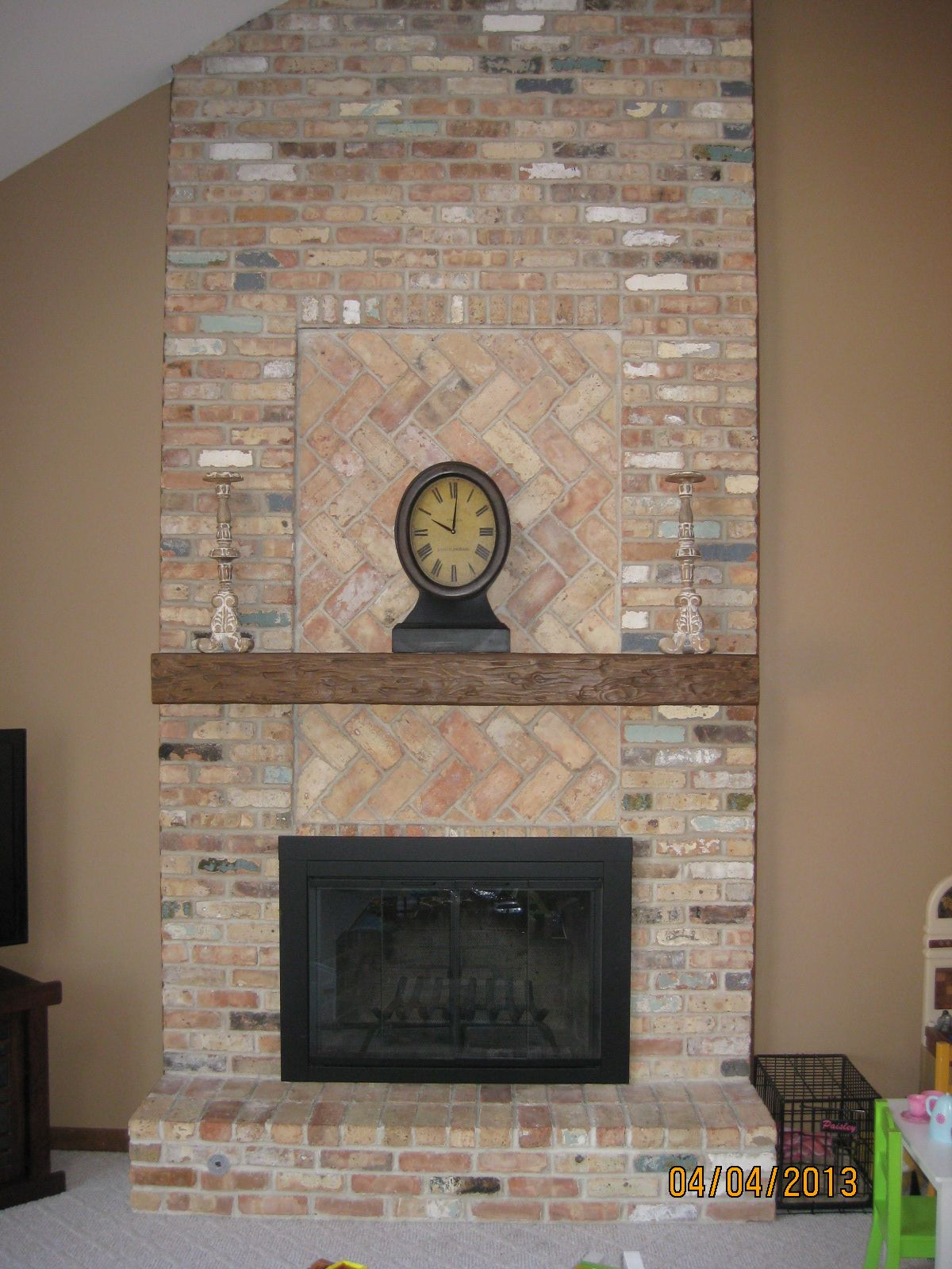 Diy mantel shelf for brick fireplace google search dyi for Diy fireplace remodel ideas