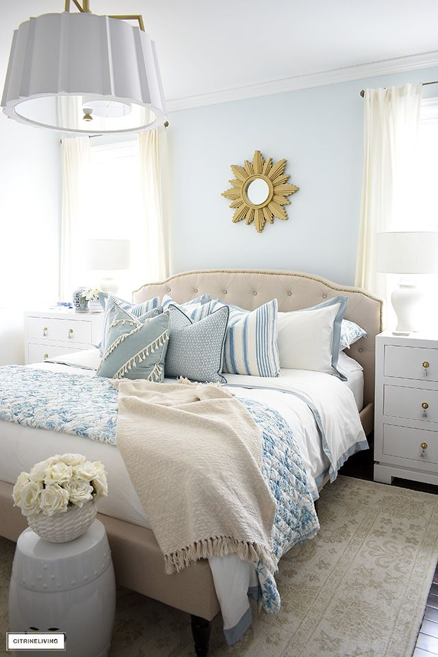 How To Style A Bed With Pillows Citrineliving Blue Bedroom Walls Blue Bedroom Decor Blue Master Bedroom