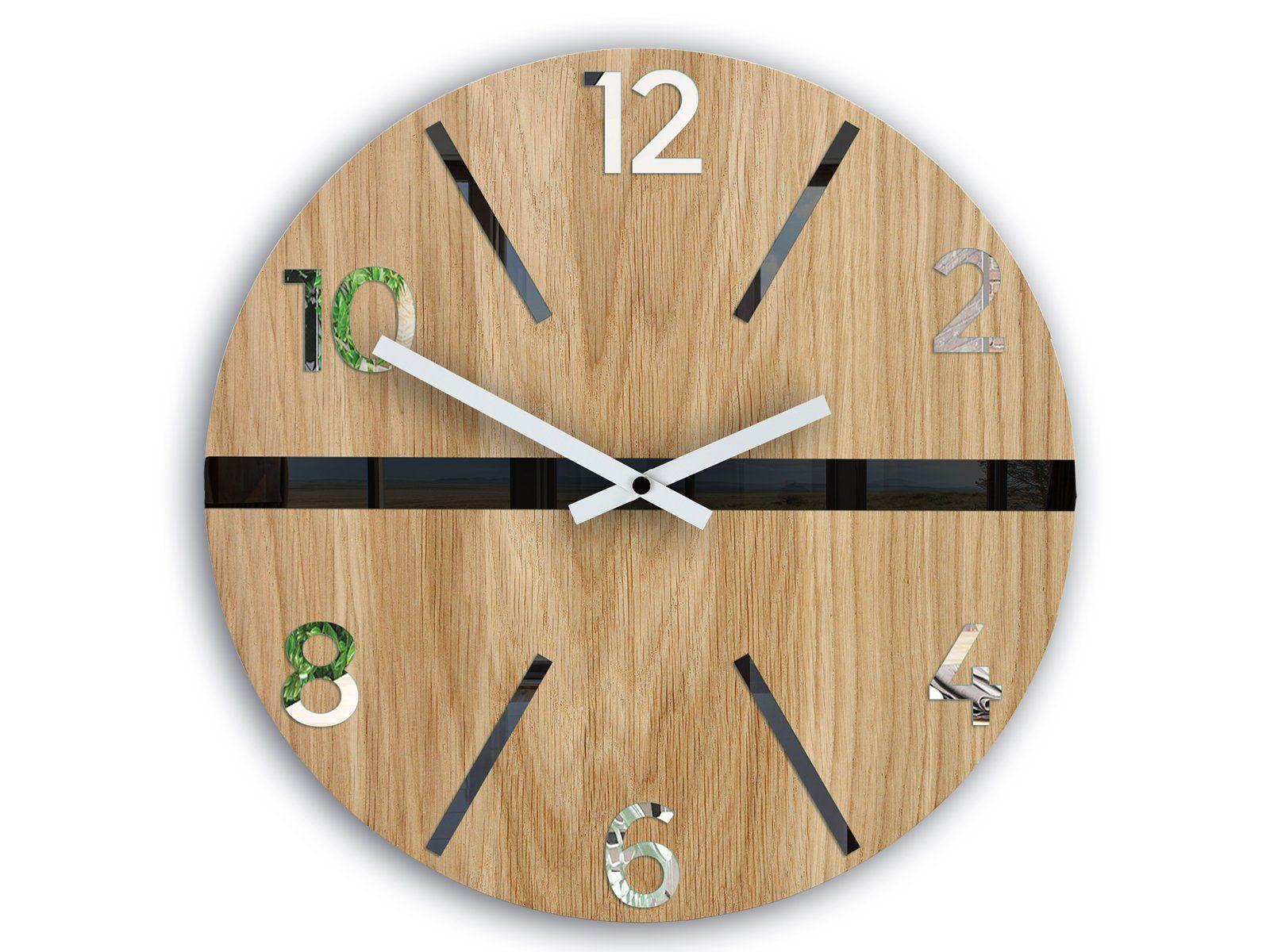 Wall Clock In Scandinavian Style White Black And Mirror Etsy Wall Clock Clock Colorful Wall Clocks
