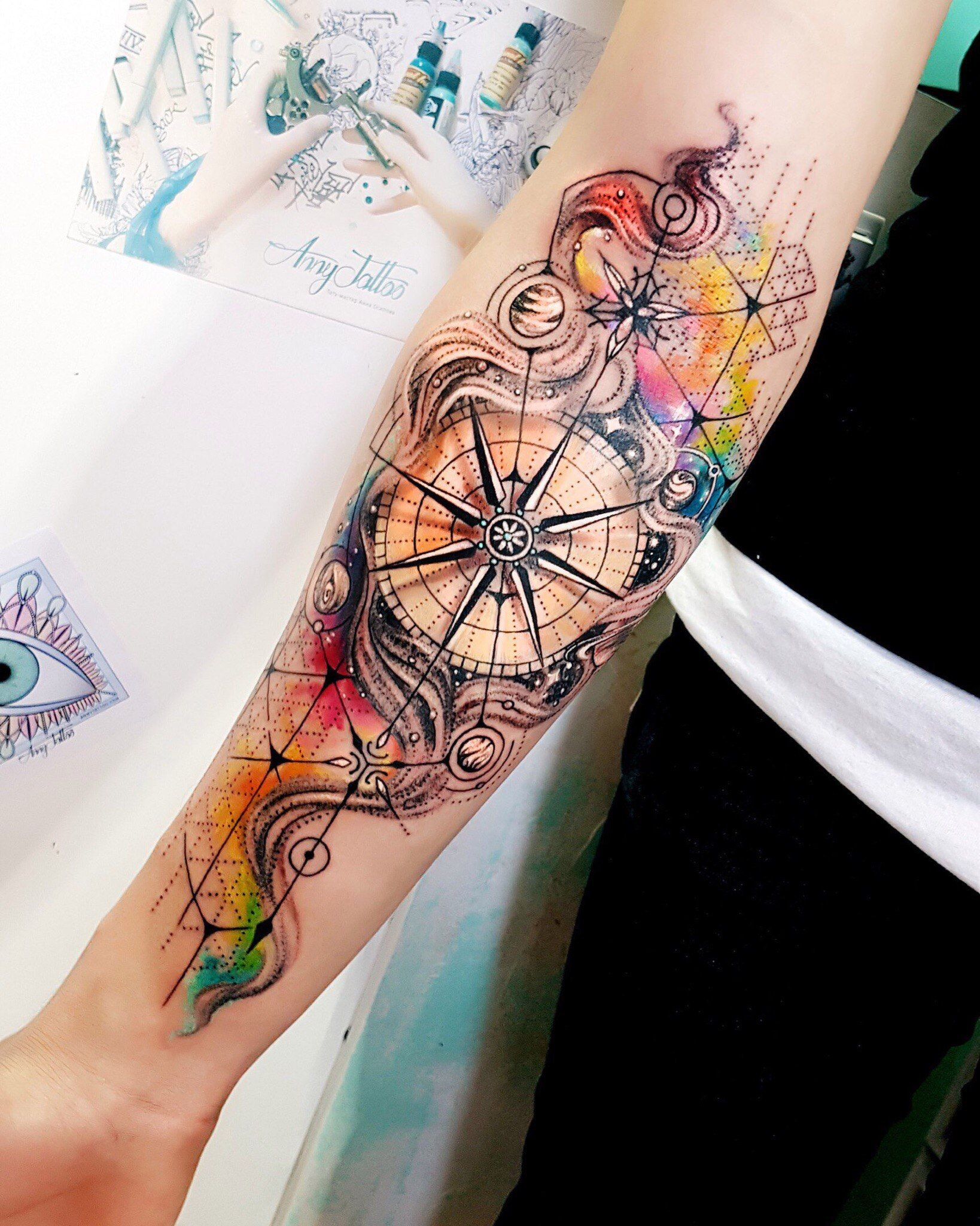 Like The Background But Different Types Of Compass Body Art