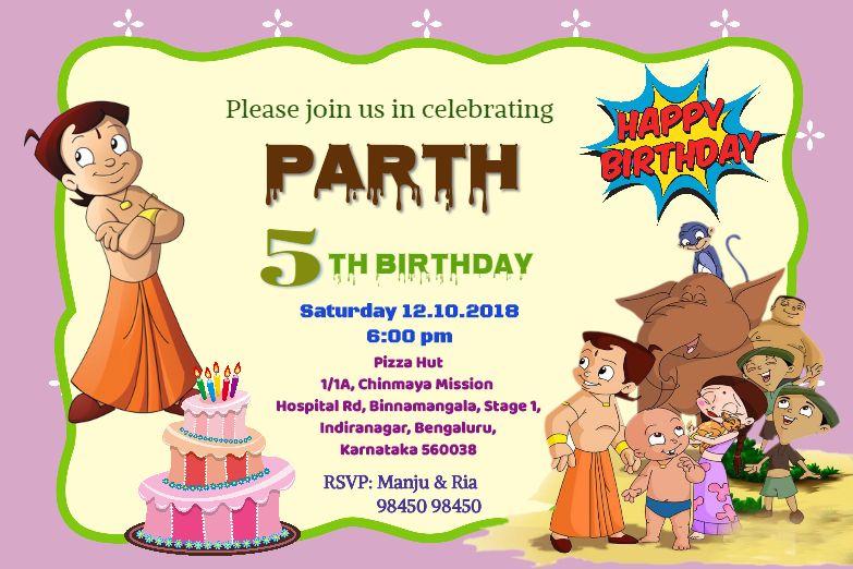 Invitation Card With Chhota Bheem Card Personalised Birthday Invitation Cards Online Birthday Invitation Cards Oshiprint In In 2020 Birthday Invitation Card Online Online Birthday Invitations Happy Birthday Invitation Card
