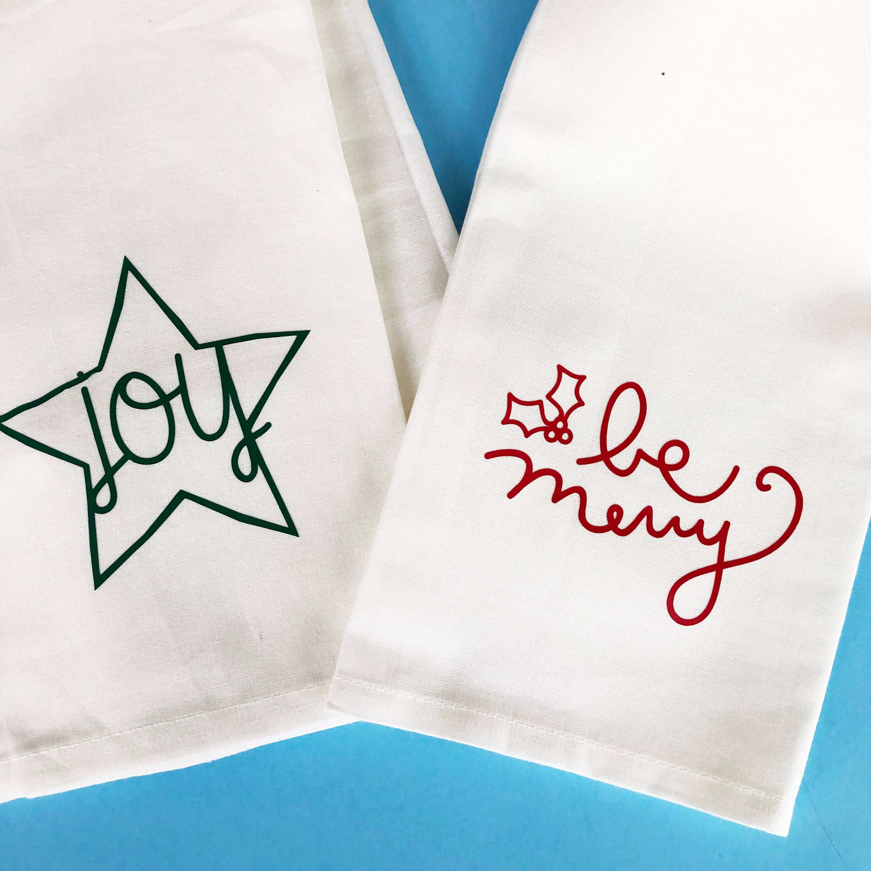 Christmas DIY: How to Apply Heat Transfer Vinyl on Cotton Hand Towels #handtowels