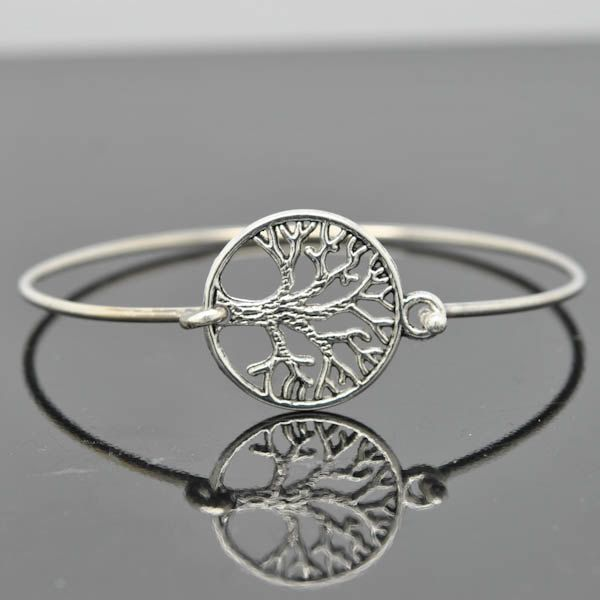 Tree Of Life Bangle Sterling Silver Bracelet Stackable Charm Bridesmaid Jewelry By Jubilejewel On