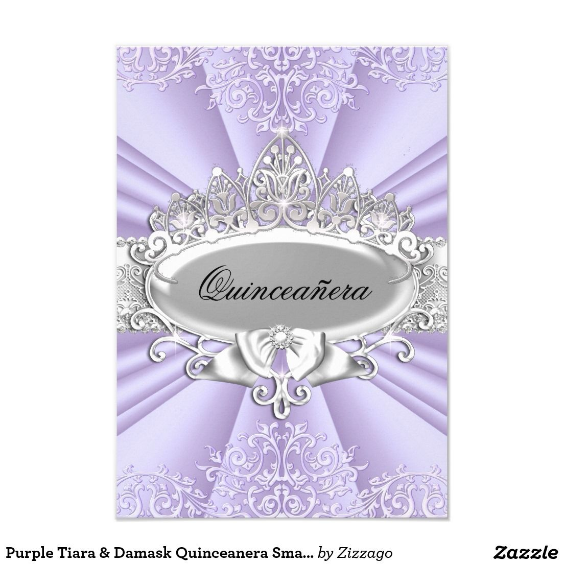 Purple Tiara Damask Quinceanera Small Size Invitation