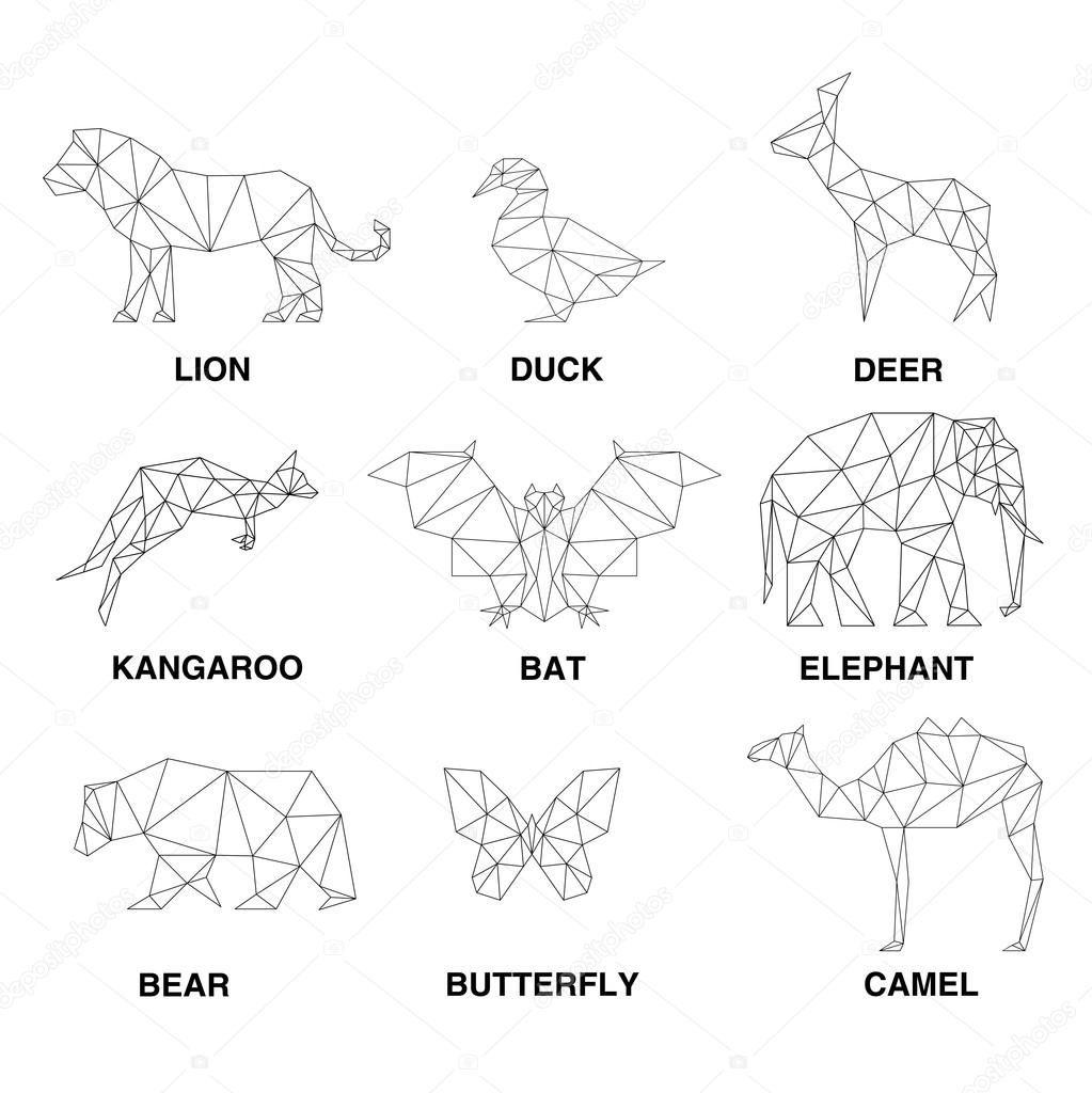 Siluetas De Animales Geometricos Conjunto De Poligonos Ilustracion De Stock Animales Geometricos Arte Poligono Siluetas Animales