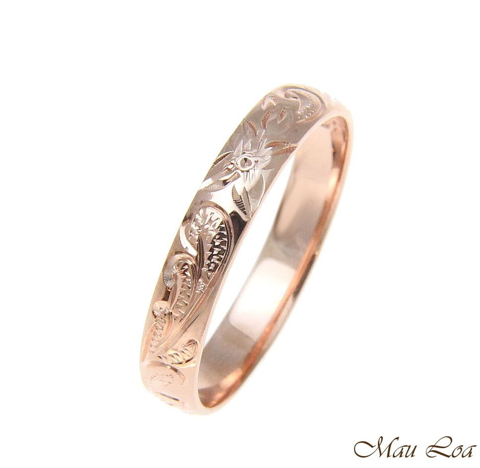 925 Sterling Silver Pink Rose Gold 4mm Hawaiian Scroll Hand Engraved