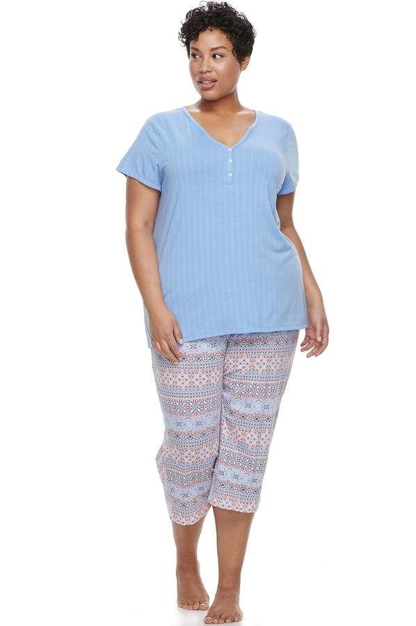 bd5012ece Plus Size Croft   Barrow® Sleep henley Sleep Tee   Capri Pajama Set ...