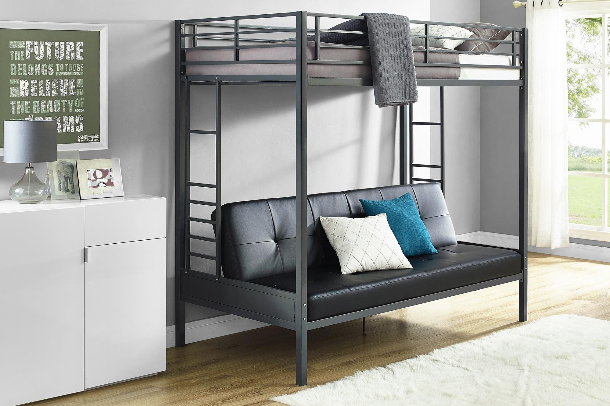 Loft bed with desk full size mattress  DHP Jasper Premium Over Futon Bunk Bed Twin Size Black  Check out
